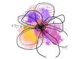 Rose Yellow Abstract Brush Splash Flower I Print by Irena Orlov