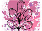 Rose Abstract Brush Splash Leaves Print by Irena Orlov