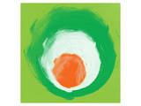 Green White Orange Elements Prints by Irena Orlov