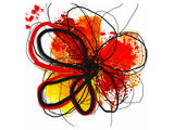 Red Abstract Brush Splash Flower I Art by Irena Orlov
