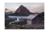 A Log Cabin Overlooks Lake Mcdermott and the Rocky Mountains Photographic Print by F. H. Kiser