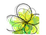 Green Abstract Brush Splash Flower Prints by Irena Orlov
