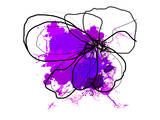 Purple Abstract Brush Splash Flower Posters by Irena Orlov