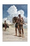 Painting of Tenerian Hunters Near a Lake in the Sahara Desert Giclee Print by Kazuhiko Sano