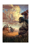 Primitive Stone Tools Were Used to Scavenge Meat from Large Carcasses Giclee Print by Jon Foster