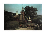 A View of a Russian Church with Cows in Front Photographic Print by Hans Hildenbrand