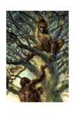 An Ardipithecus Ramidus Male Offers Nuts to a Female on the Ground Giclee Print by Jon Foster