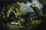 Homo Floresiensis Butchering a Kill as Giant Lizard Threatens Giclee Print by Lars Grant-West