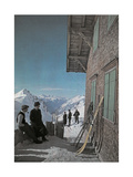 People with Skis Stand Beside the Terrace of the Ulmer Hutte Fotografisk tryk af Hans Hildenbrand