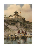 Boats on the River Near the City of Chongqing Photographic Print by S.R. Vinton