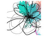 Blue Abstract Brush Splash Flower Prints by Irena Orlov