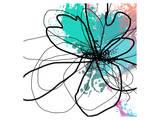 Blue Abstract Brush Splash Flower Print by Irena Orlov