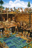 Olmec Indians Bury a Newly Created Tile Mosaic of Serpentine Blocks Giclee Print by Felipe Davalos