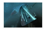 The Bow of the Titanic Hurtles Toward the Seafloor Giclee Print by Raymond Wong