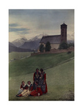 Girls Pose on a Hill in Front of Protestant Mountain Church Photographic Print by Hans Hildenbrand