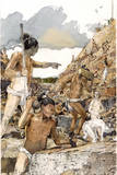 Mayans Remove Bedrock to Create a Defensive Wall at Punta De Chimino Giclee Print by Richard Schlecht