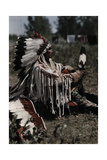 "An Informal Portrait of the Indian Named ""White Man Runs Him"" Photographic Print by Edwin L. Wisherd"