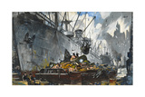 Men Unload Scrap Metal from a Ship Giclee Print by Thornton Oakley