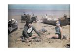 Children Play on a Sandy Beach Near Yarmouth Photographic Print by Clifton R. Adams