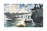 Servicemen Watch a Military Seaplane Taking Off from Water Giclee Print by Thornton Oakley