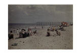 People Sunbathe and Swim at a Beach on the Atlantic Coast Photographic Print by Clifton R. Adams