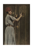 A Child Polishes the Brass Door Knocker on the Big Front Door Photographic Print by Eric Keast Burke
