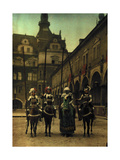 Soldiers on Horseback Hold their Halberds in the Castle Courtyard Photographic Print by Hans Hildenbrand