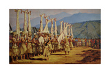 Hupa Indians Perform a Ritual in Deer Skin and Thatch-Topped Hats Giclee Print by W. Langdon Kihn