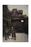 Town Soldiers Stand in the Nuremberg Castle Courtyard with Halberds Photographic Print by Hans Hildenbrand