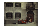Women and the Planta House, Home to the Oldest Noble Engadine Family Photographic Print by Hans Hildenbrand