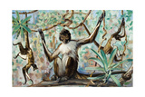 Painting of Spider Monkeys in a Forest Habitat Giclee Print by Elie Cheverlange