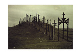 A View of a Walkway Lined with Crucifixes Fotografisk tryk af Gustav Heurlin