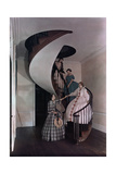 Women Walk Down a Spiral Staircase in an Ancestral Home Photographic Print by J. Baylor Roberts