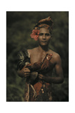 A Man Holds a Rooster Used in Bali's Cockfighting Giclee Print by Franklin Price Knott