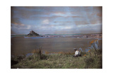 A Man Admires the View of an Abbey on St. Michael's Mount Photographic Print by Clifton R. Adams