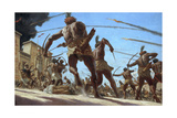 Nubian Troops Storm the Walled Capital of Memphis with Flaming Arrows Giclee Print by Gregory Manchess