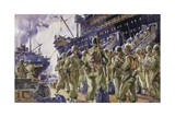 An U.S. Regiment Boards a Ship to Be Transported Overseas Giclee Print by Andre Durenceau