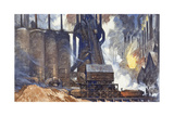 A View of an American Steel Mill and its Smoke Stacks Giclee Print by Thornton Oakley