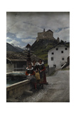 Three Young Girls Pose at the Water Fountain Below the Castle Tarasp Photographic Print by Hans Hildenbrand