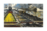 Barges Full of Raw Materials Travel Up and Down the Mississippi River Giclee Print by Thornton Oakley