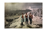 Three Men Stand in the Black Mountain Region of Montenegro Photographic Print by Hans Hildenbrand