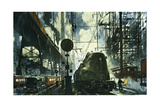 Webs of Wires and Transformers Feed Power to Locomotives Giclee Print by Thornton Oakley