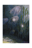 A Painting of Rainbow-Jellies, Mnemiopsis Leidyi, Floating in Water Giclee Print by William H. Crowder