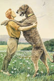 An Irish Wolfhound, on His Hind Legs, Stands Taller Than His Master Giclee Print by Louis Agassi Fuertes