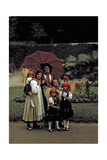 A Peasant Family Poses under an Umbrella at a Folk Costume Festival Photographic Print by Hans Hildenbrand