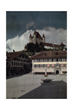 A View of a Courtyard in Thun Below the Zahringen Kyburg Castle Photographic Print by Hans Hildenbrand
