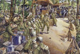 Soldiers Line Up at a Field Kitchen after a Long March Giclee Print by Andre Durenceau