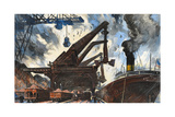 Cranes Unload Iron Ore from Great Lakes Steam Ships Giclee Print by Thornton Oakley