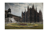 A View of a Cathedral and the Equestrian Statue of Victor Emmanuel Ii Photographic Print by Hans Hildenbrand