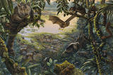 Ancient Ecosystem at Messel with Animals in Rain Forest around a Lake Giclee Print by Mark Hallett